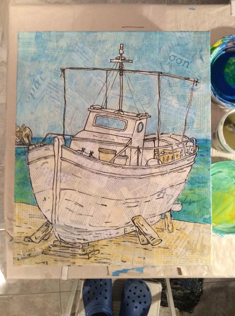 Koroni fishing boat painted collage