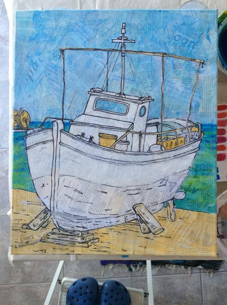 koroni fishing boats art paintings collage