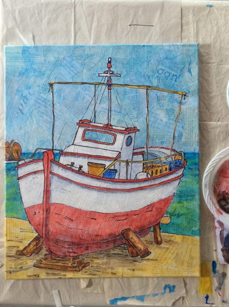 koroni fishing boat on the stocks