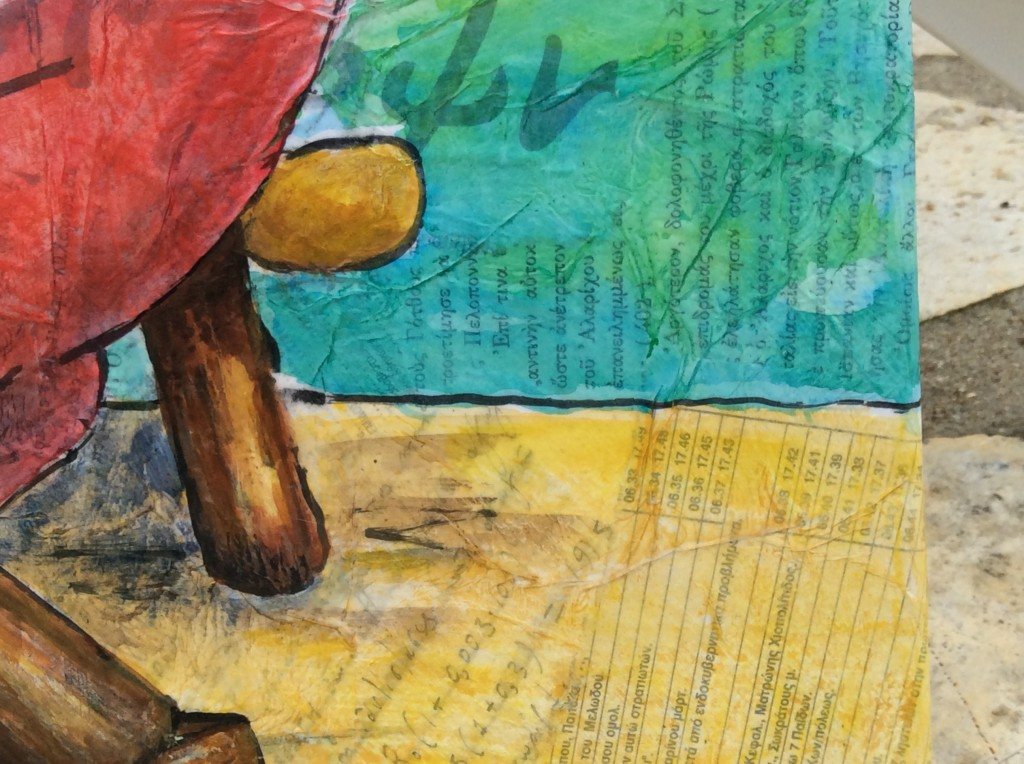 Koroni fishing boat collage painting