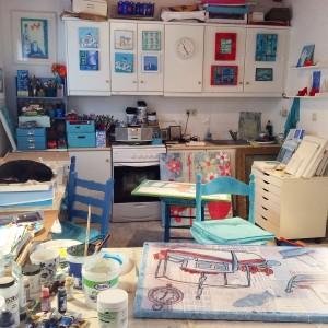 art, studio, Harakopio, artists window, gill tomlinson, painting