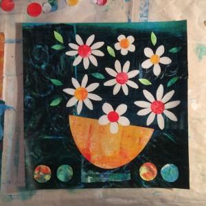 florals, collage, daisies, artwork
