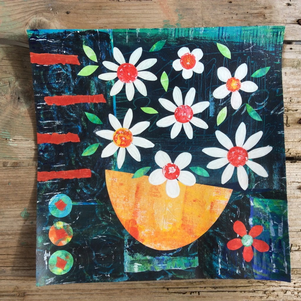 Floral, flowers, collage, daisies, art inspired by Greece