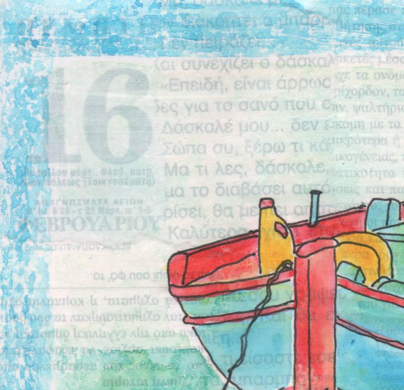 Greek, fishing boat, Kefalonia, drawing, painting
