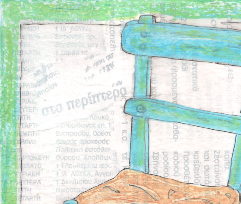 Greek, taverna, chair, drawing
