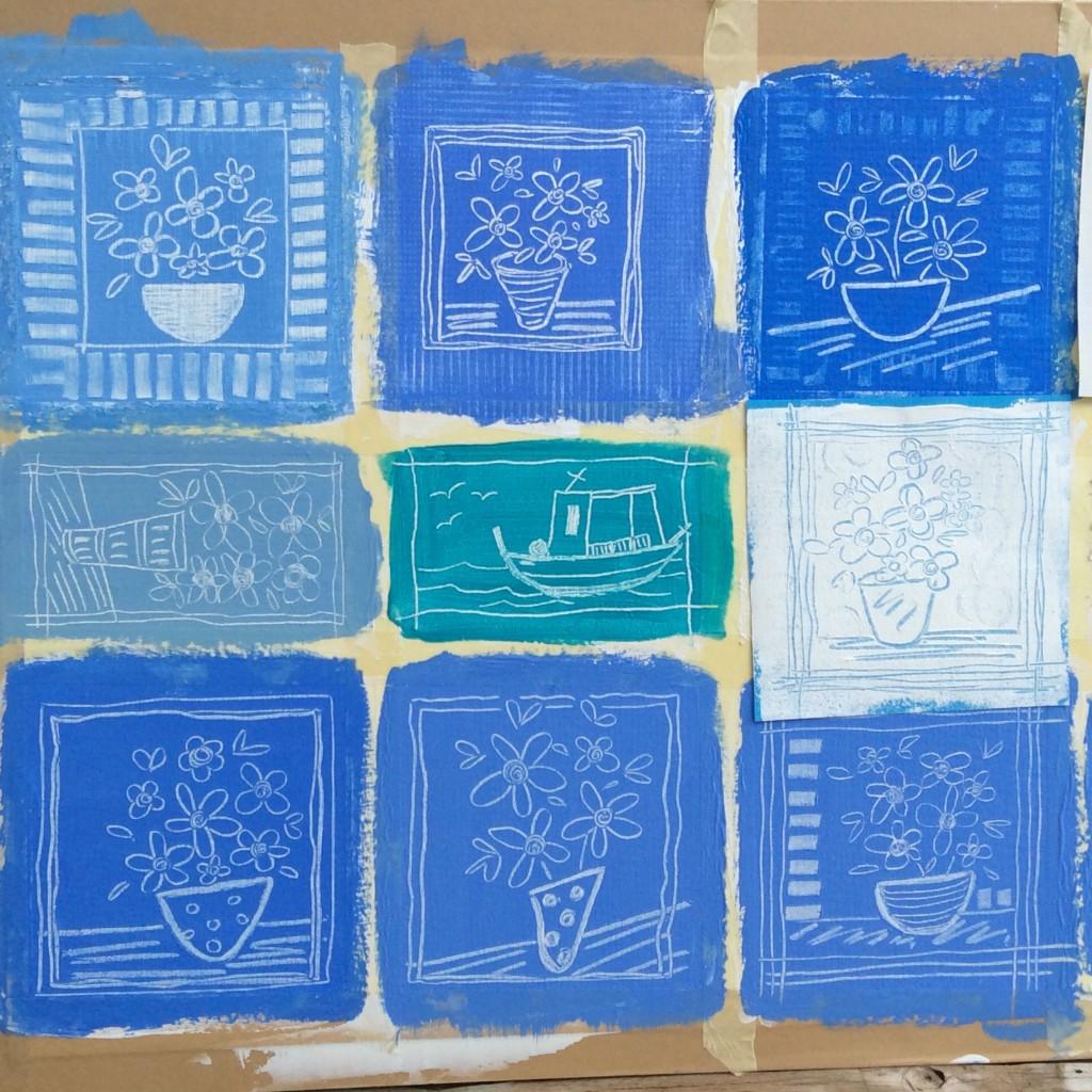 Blue, art, sketch, drawing board