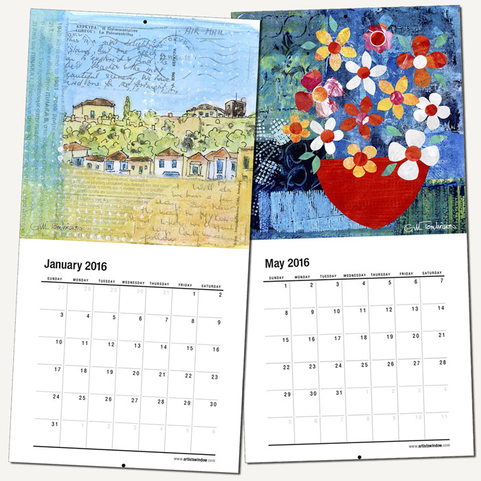 2016 wall art calendar gill tomlinson artwork inspired by greece and the mediterranean
