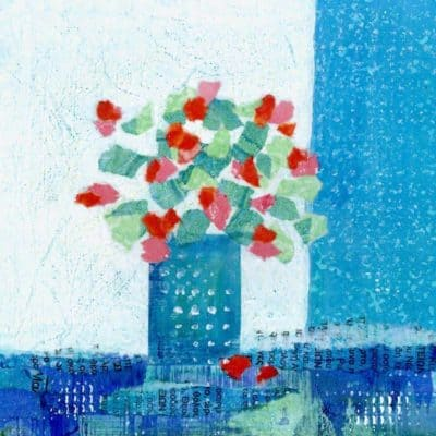 geranium collage blue red pink greece