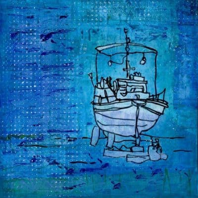 boat, drawing, painting, greece, gill tomlinson
