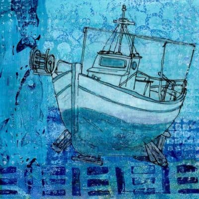 fishing boat original art collage