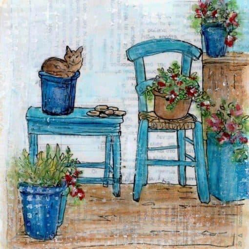 cat blue flower pot garden