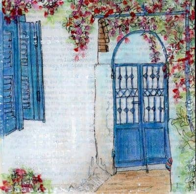 garden gate blue shutters collage