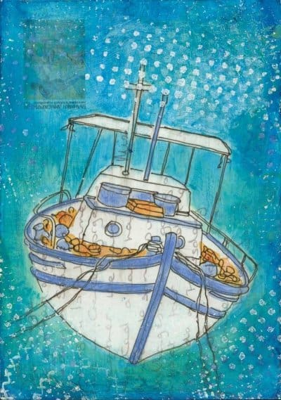 greek fishing boat altered postcard