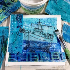 collage, blue, boat, transfer, print art