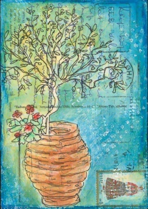 mailart original greece postcard
