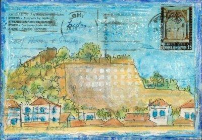 altered art postcard greece