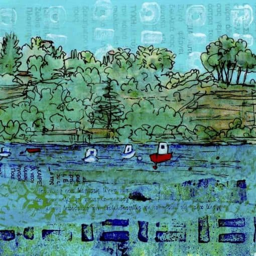 boats collage greece painting
