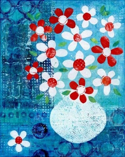 floral flowers greece summer painting