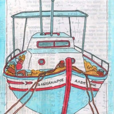 greek fishing boat collage print