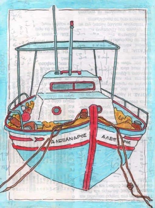 greek fishing boat collage print