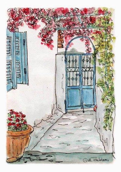 garden gate blue shutters flowers