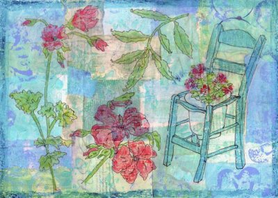 blue collage geraniums garden