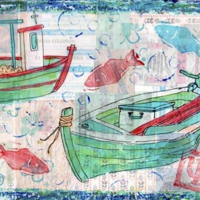 collage painting fishing boats fish