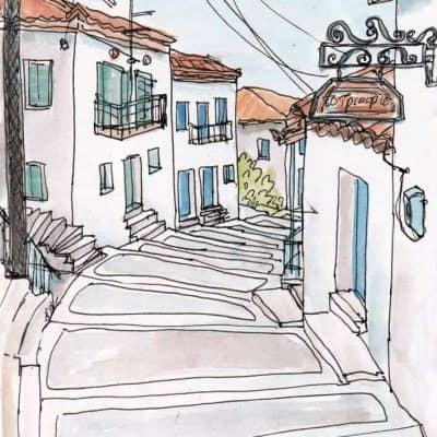 greek village stepped street koroni