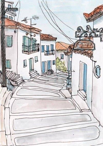 greek village stepped street koroni