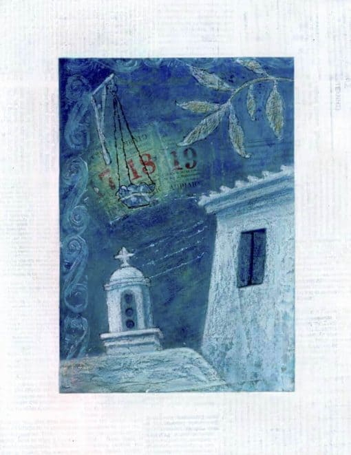 giclee print midnight village greece