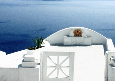 Santorini sea view blue white