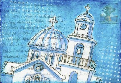 blue white church collage