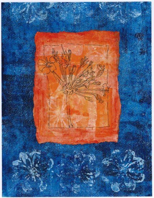 orange geranium original art