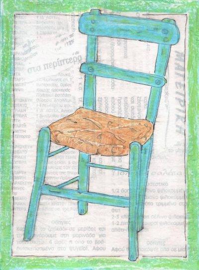 greek taverna chair canvas print