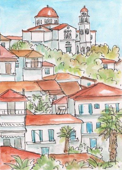 greek village church painting
