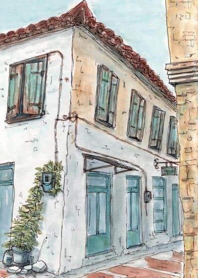 bakery village watercolour print