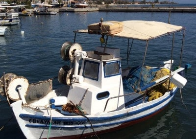 greek fishing boat harbour greece