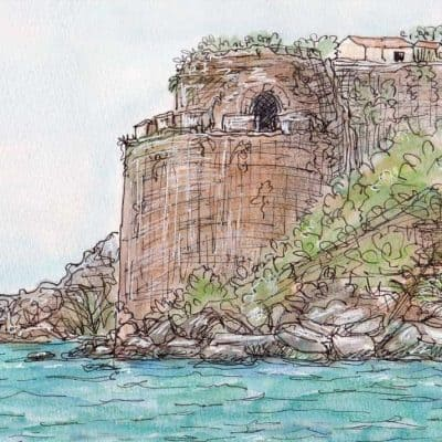 castle drawing painting print koroni