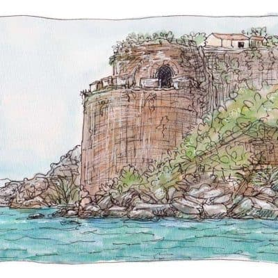 koroni castle print watecolor sketch