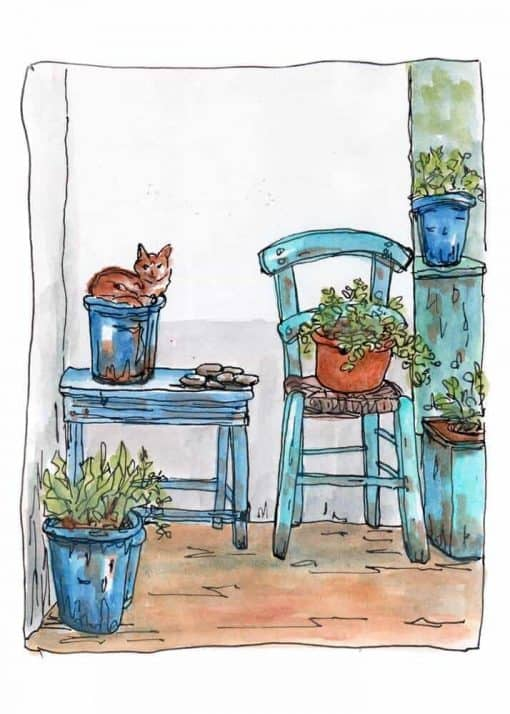 cat blue chair garden print