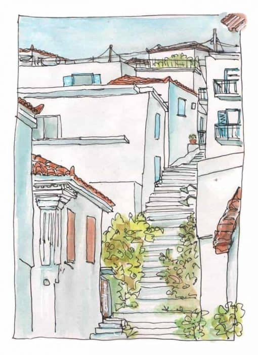 koroni greece watercolour sketch painting