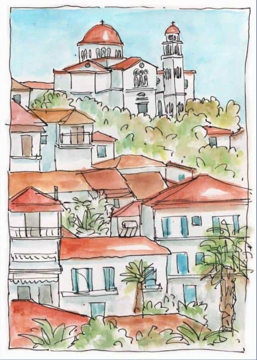 rooftops village church view print