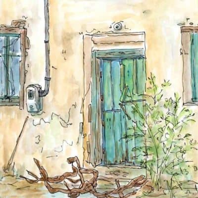 green door windows village house painting