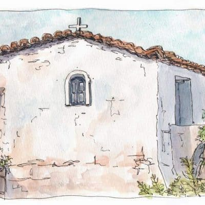 monastery chapel watercolour print