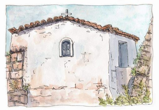 monastery chapel watercolour print