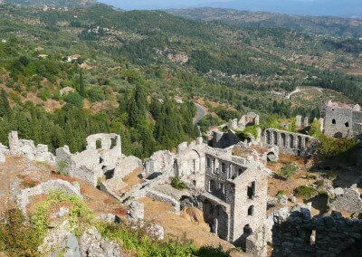 Mystras Byzantine city ruins Greece