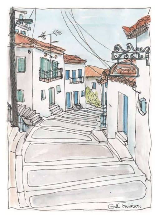 watercolour drawing painting greece