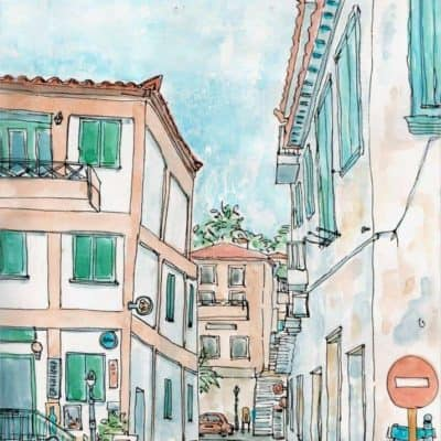 koroni cafe streets watercolour print