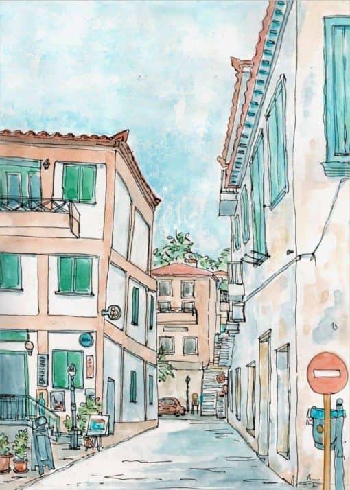 koroni cafe streets watercolour print