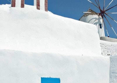 Santorini church windmill blue white